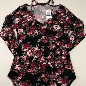 Ultra Flirt Tee Shirt Top L/S Black Floral